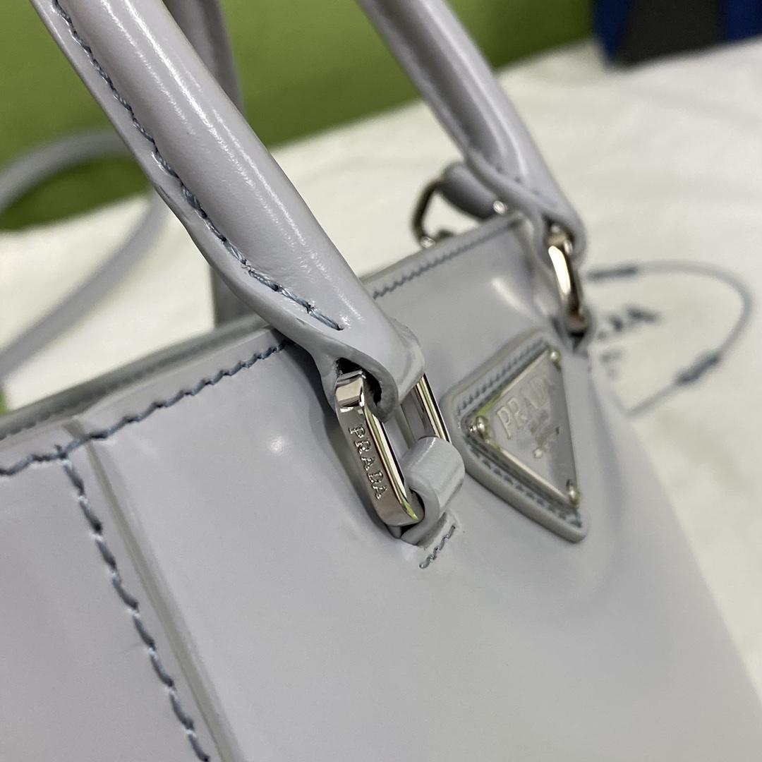 【P980】一件代发 Prada普拉达1BA331灰蓝色进口牛皮迷你手提包单肩包