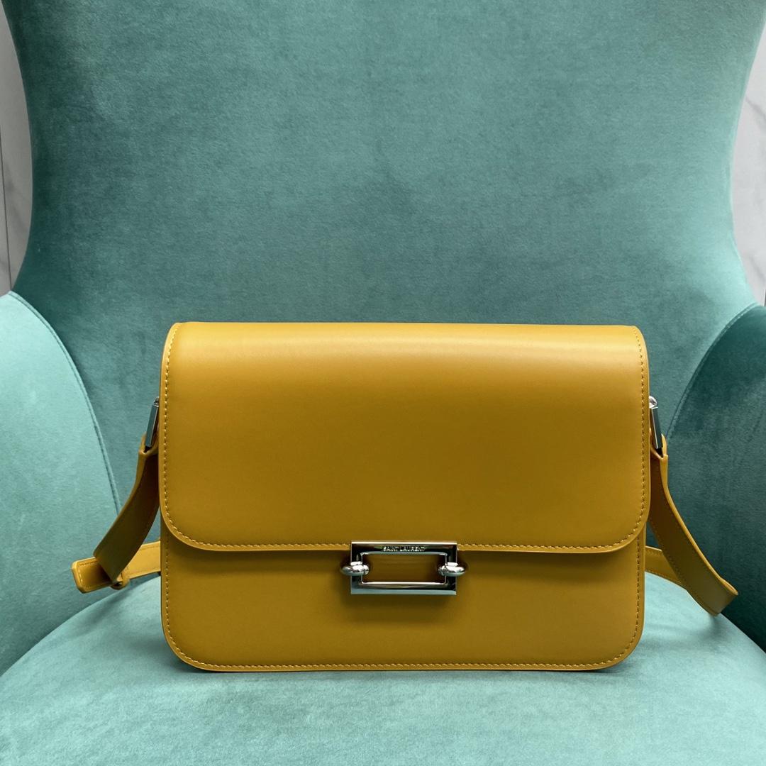 【P1500】YSL Le Pavé 圣罗兰新款方扣复古黄色Box豆腐包单肩斜挎女包24CM