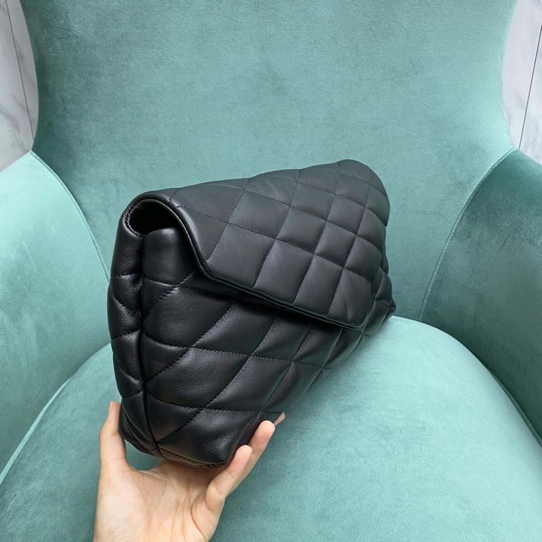 【P1320】圣罗兰新款女包 YSL Sade Puffer菱格羊皮信封包手包35CM 黑色