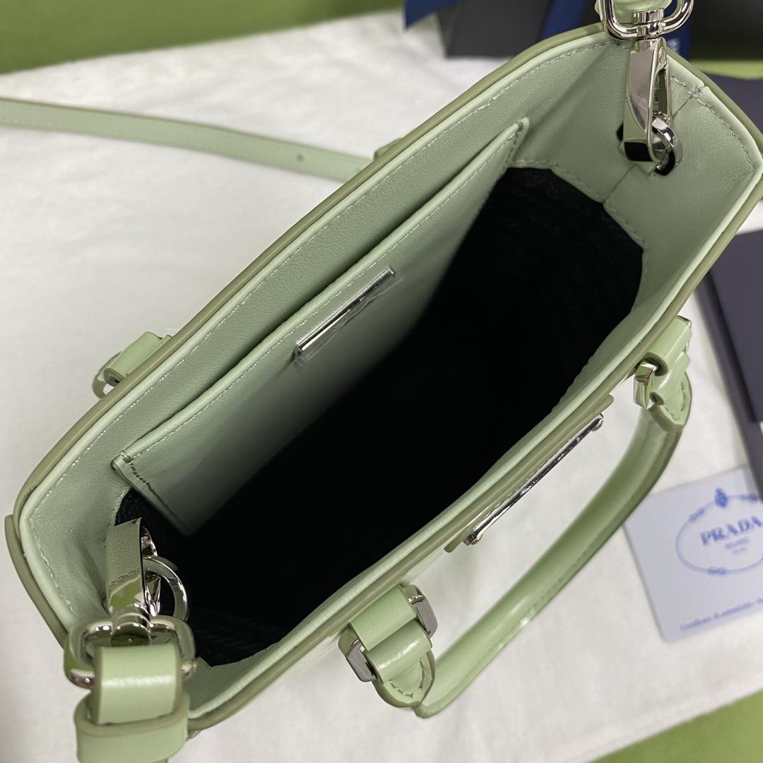 【P980】Prada包包官网 普拉达光面牛皮mini tote迷你手提包 绿色