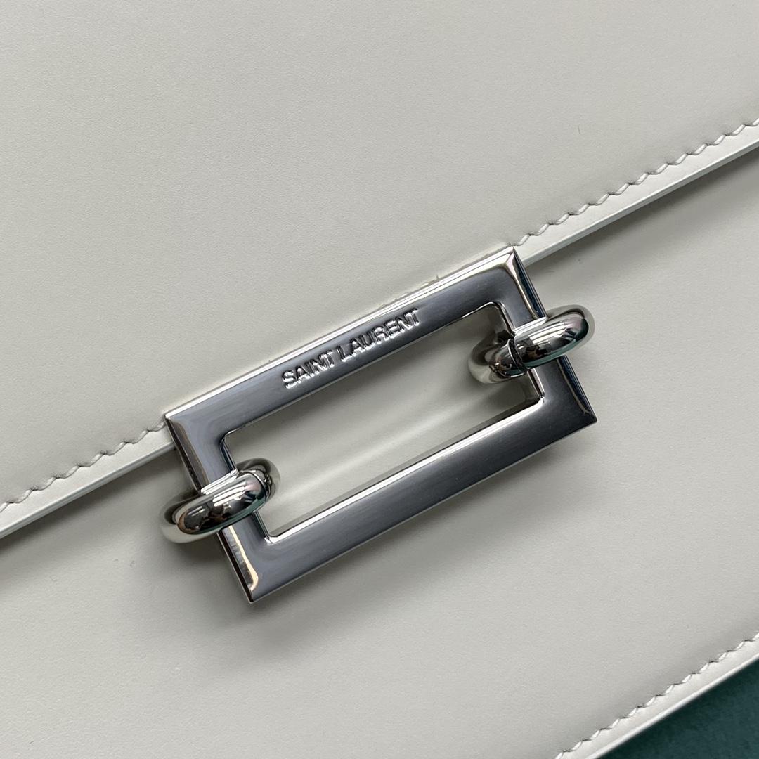【P1500】YSL包包价格 圣罗兰657186白色复古方扣单肩斜挎豆腐包24CM