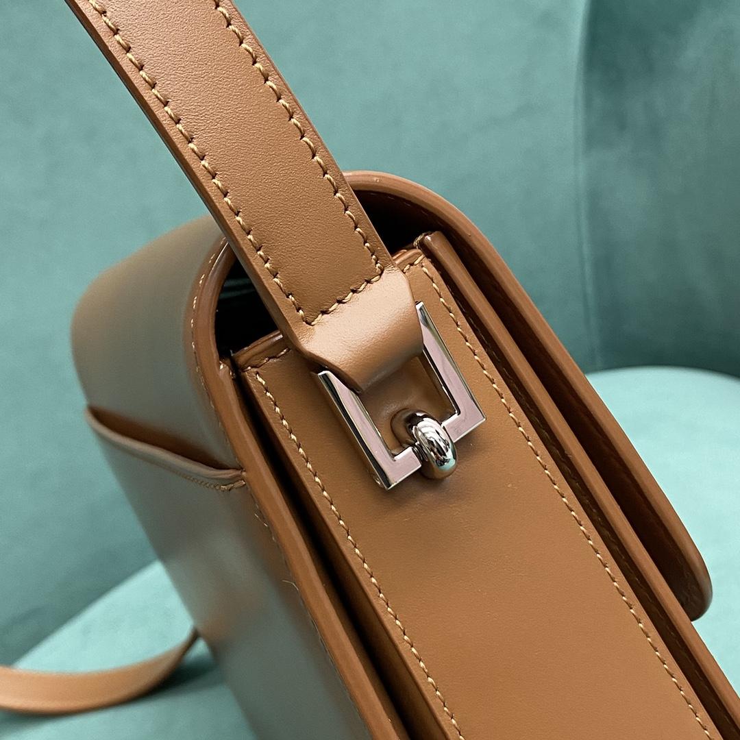 【P1500】圣罗兰2021新款包包 YSL棕色进口真皮方扣Box斜挎方包24CM