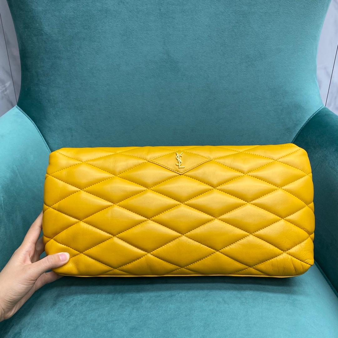 【P1320】YSL Sade Puffer 圣罗兰新款黄色小羊皮菱格信封包手包35CM