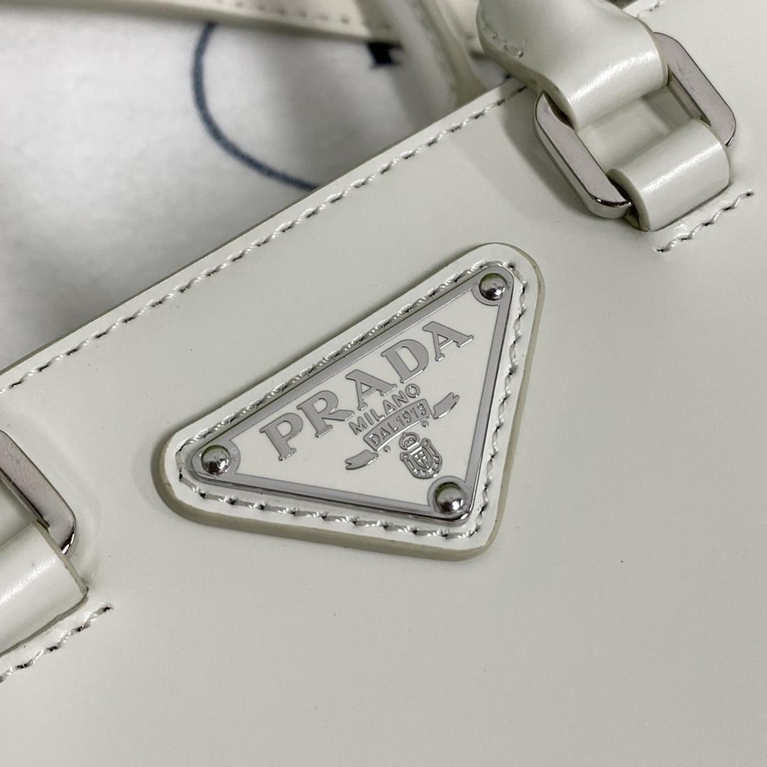 【P980】Prada新款女包 普拉达1BA331白色光滑牛皮迷你手提包斜挎包