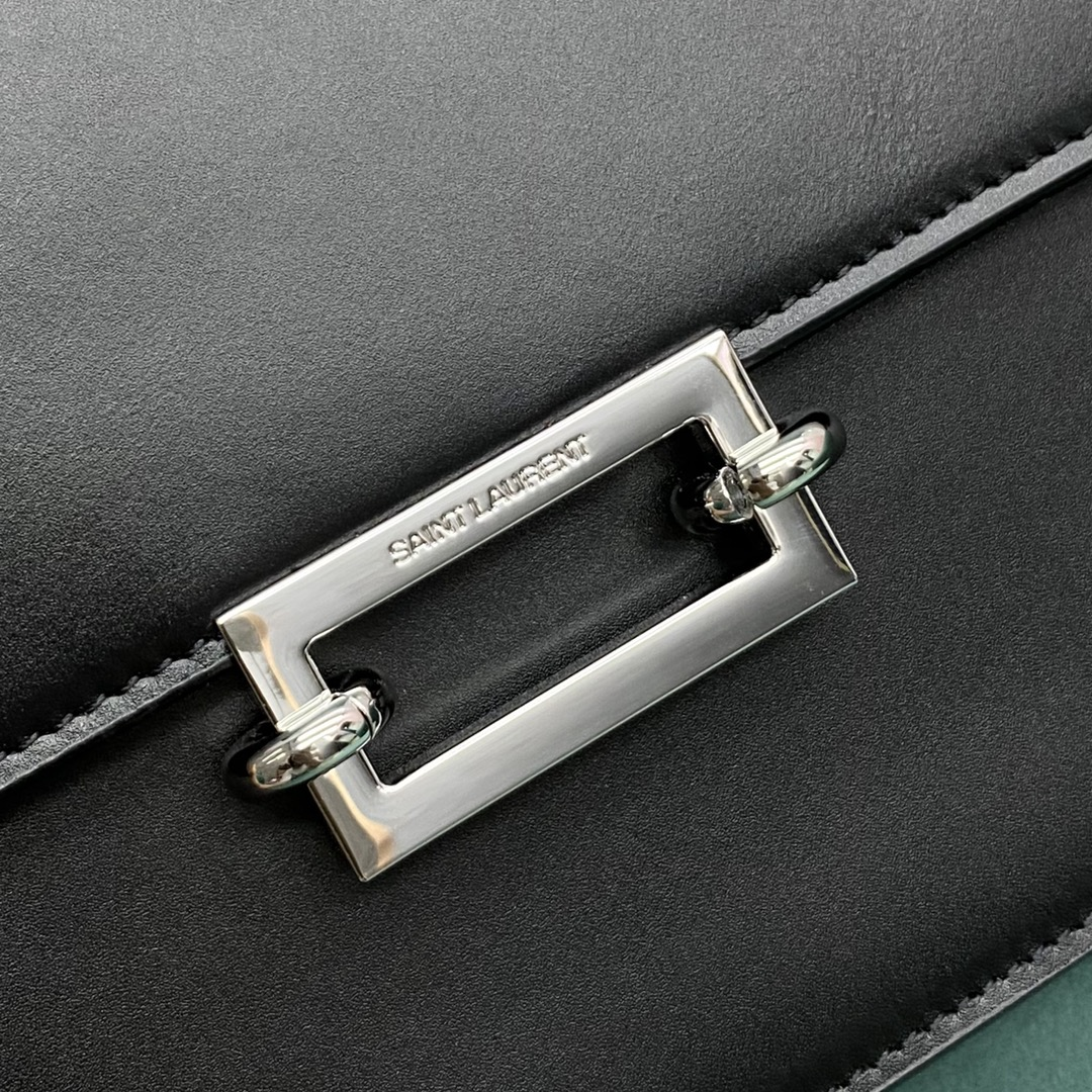 【P1500】圣罗兰女包批发 YSL Le Pavé进口皮料复古Box方包斜挎包 黑色