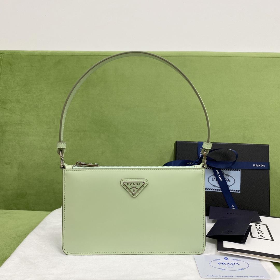 【P900】Prada女包价格 普拉达新款1BC155绿色腋下包单肩包20CM