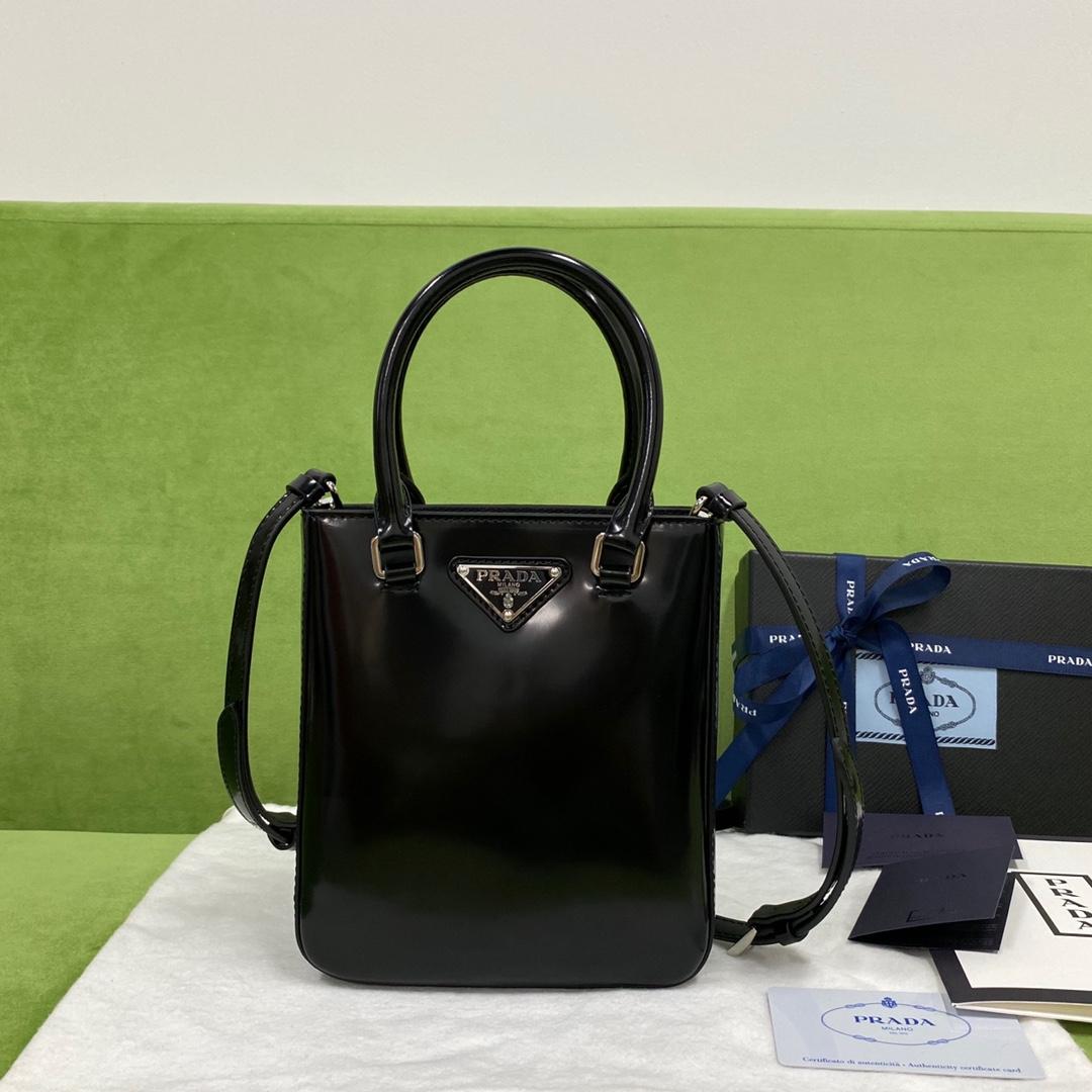 【P980】普拉达包包价格 Prada mini tote进口光面牛皮迷你手提包 黑色