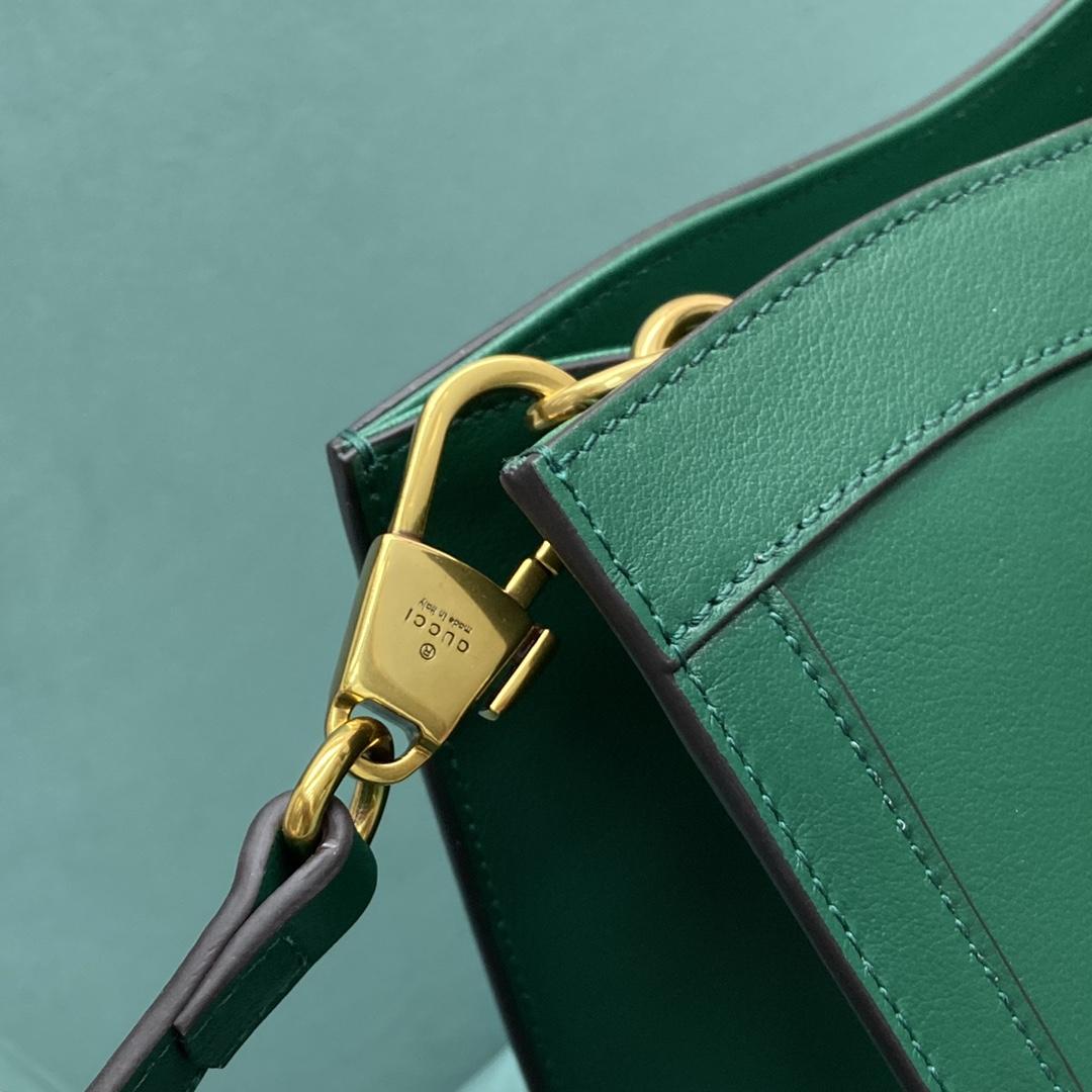 【P1430】古驰新款女包 Gucci绿色进口牛皮竹节手提包斜挎包大号27CM