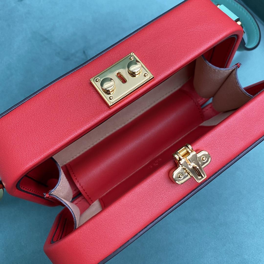 【P1280】厂家直销 Gucci古奇新款复古盒子包padlock系列单肩斜挎包 红色