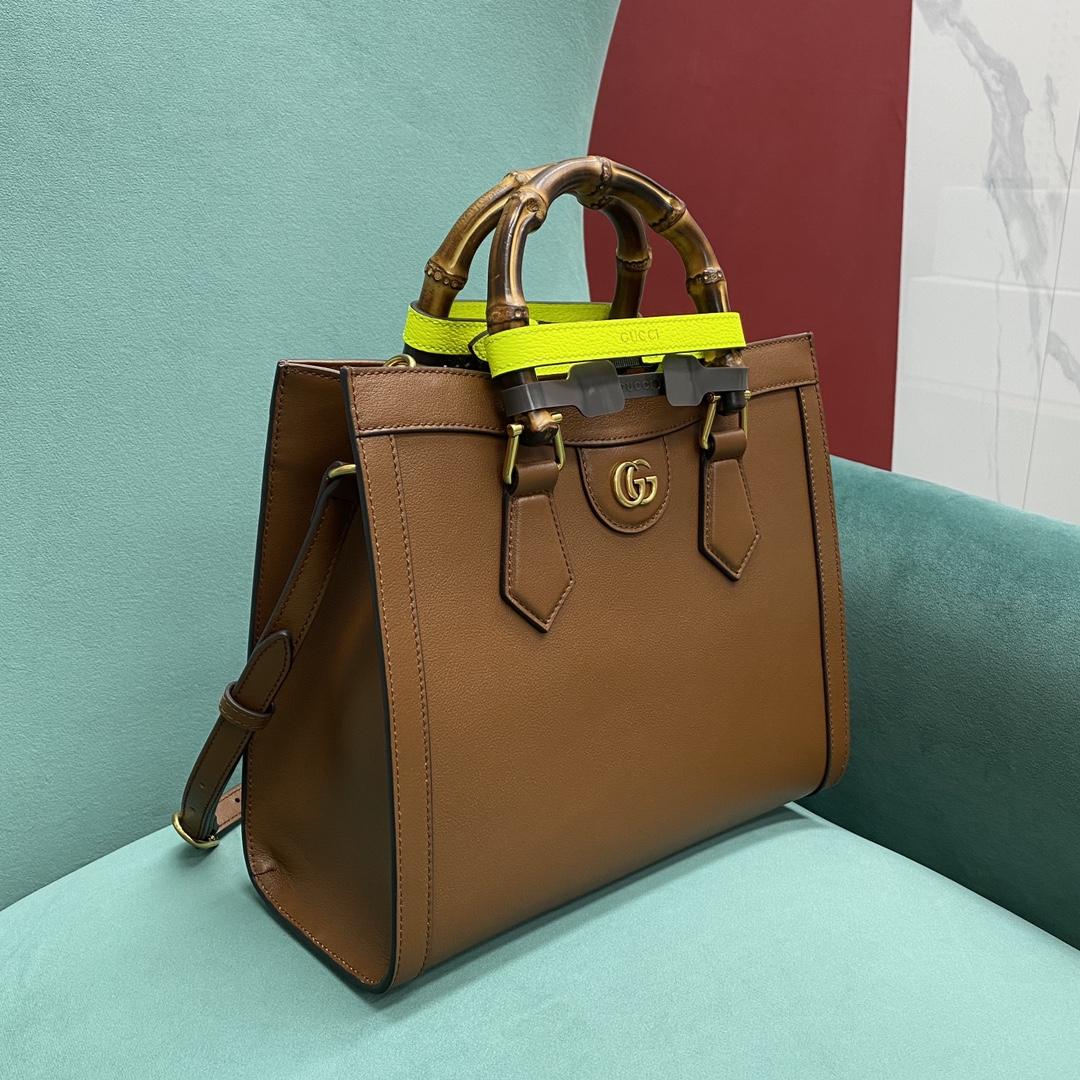 【P1430】古驰女包批发 Gucci新款荧光绑带手提包Diana竹节包27CM 棕色