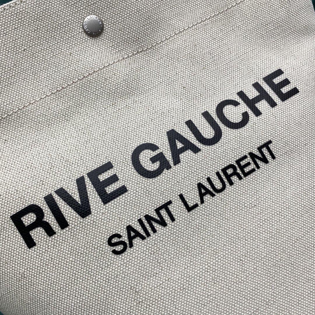 【P1050】圣罗兰包包批发 YSL669299白拼棕新款麻布单肩斜挎水桶包