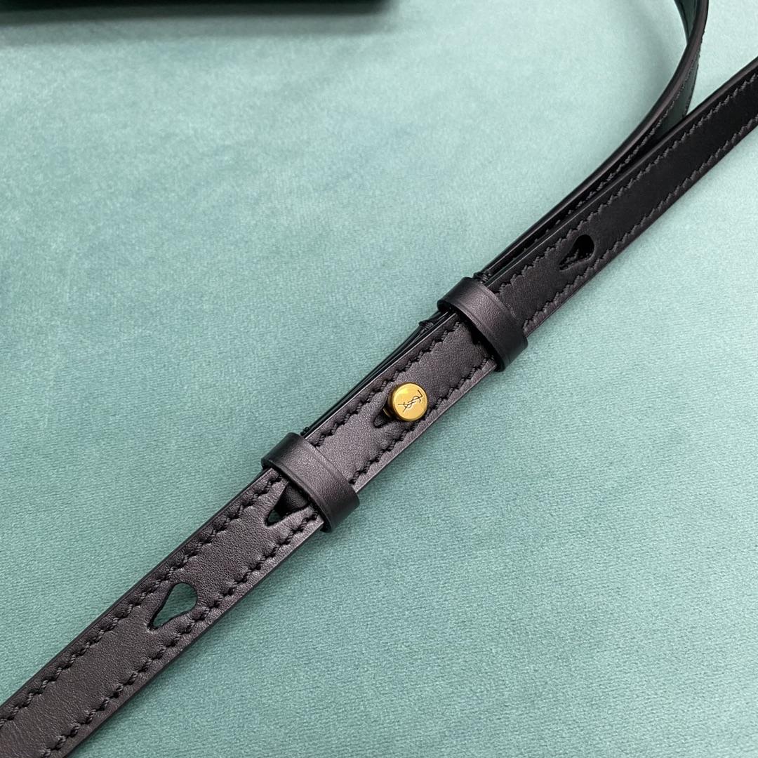【P980】圣罗兰女包价格 YSL Kaia马鞍包668809黑色单肩斜挎包18CM