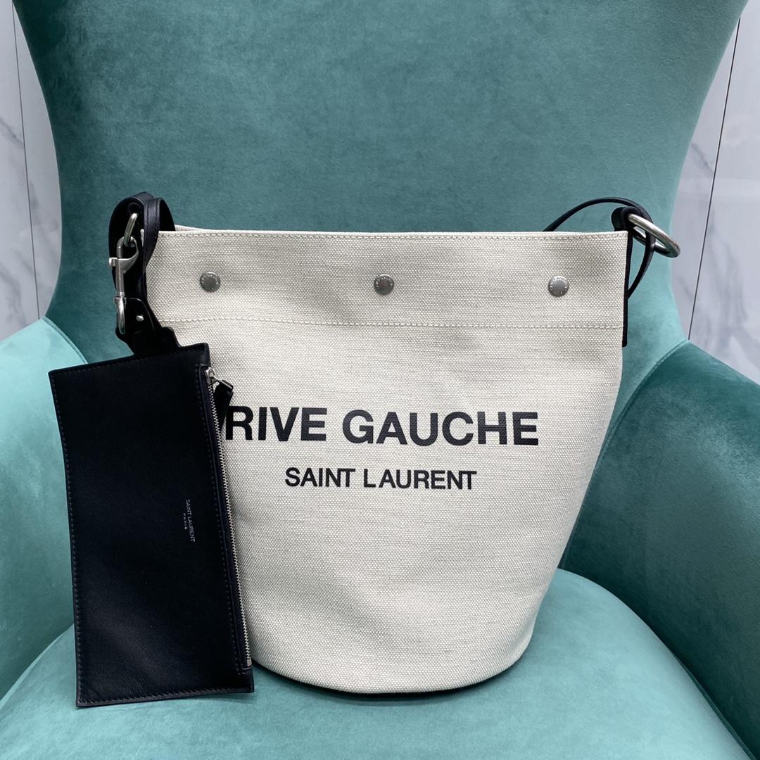 【P1050】YSL RIVE GAUCHE 圣罗兰669299麻布水桶包斜挎单肩包 白拼黑