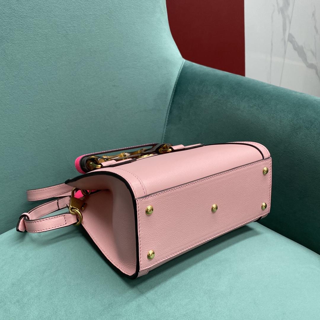 【P1280】古奇包包价格 Gucci Diana小号竹节包斜挎手提包20CM 粉色