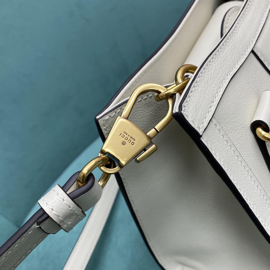 【P1280】古驰包包货源 Gucci Diana竹节包小号655661白色牛皮手提包20CM