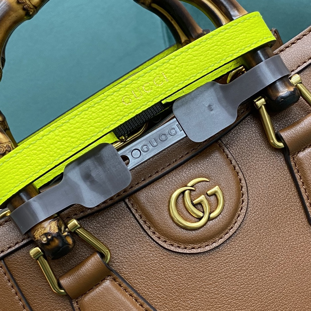 【P1280】Gucci包包官网 古驰655661棕色小号Diana竹节包手提女包20CM