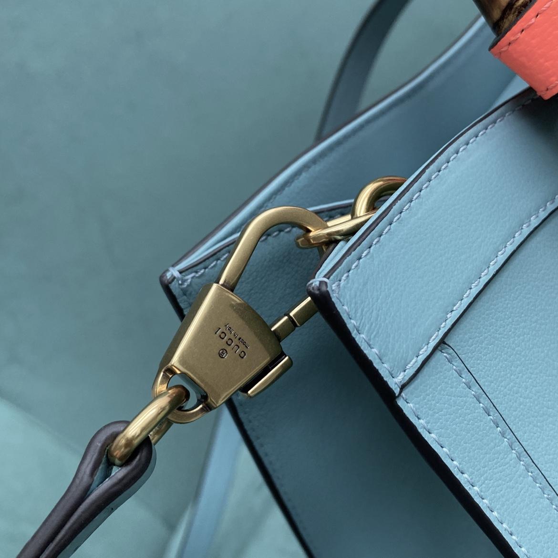 【P1430】Gucci包包价格 古奇新款660195蓝色手提斜挎Diana竹节包27CM