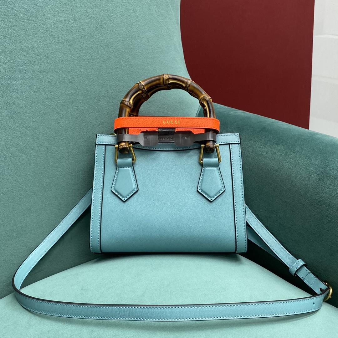 【P1280】Gucci Diana 古奇655661蓝色牛皮的荧光扣带手提竹节包小号20