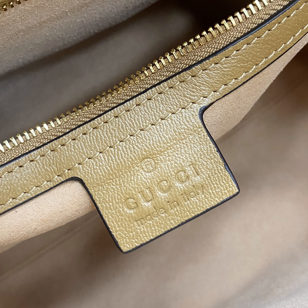 【P1350】Gucci包包官网 古驰658450棕色牛皮双G磁扣斜挎手提包25CM