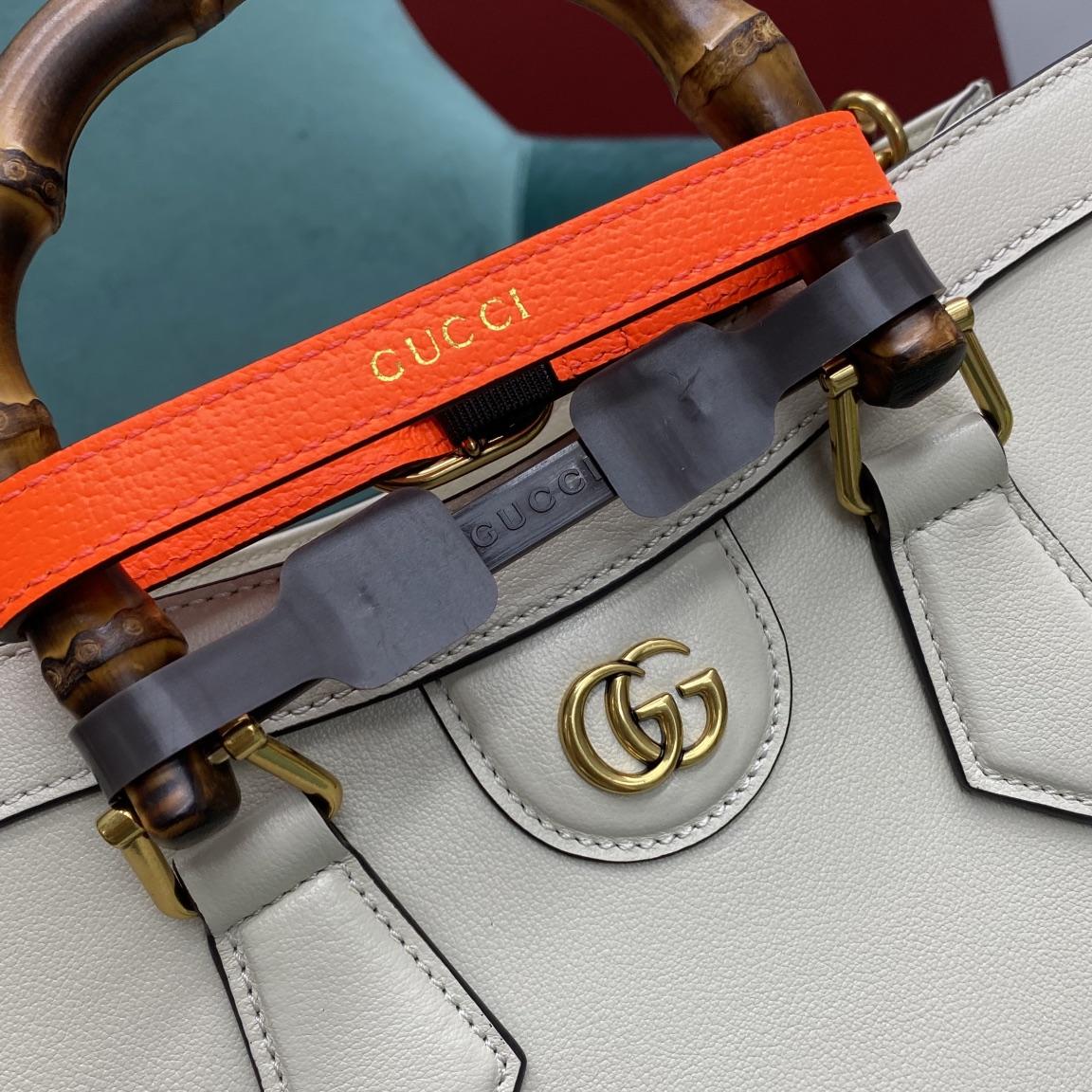 【P1430】古驰包包官网 Gucci Diana竹节包660195白色牛皮手提包27CM