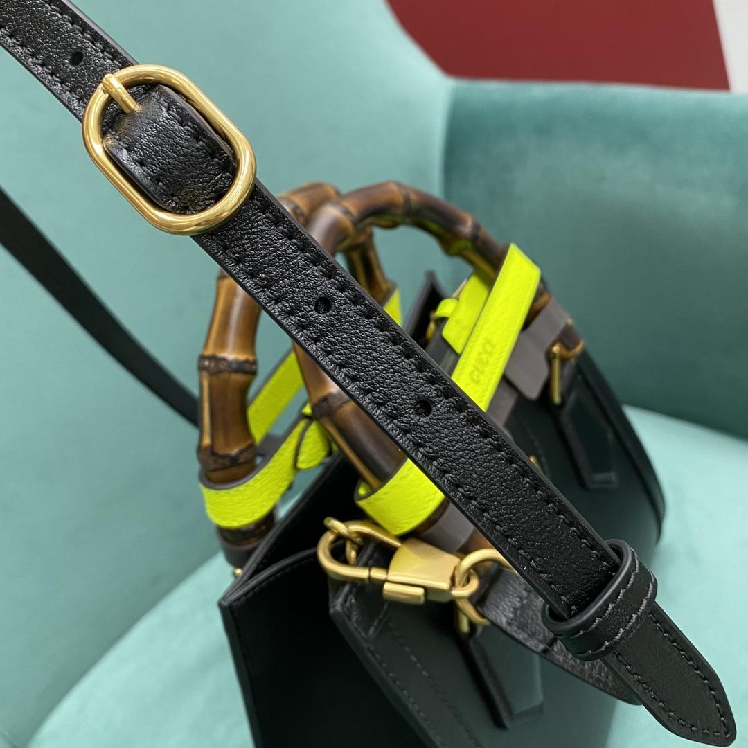 【P1280】广州白云皮具城 Gucci古奇新款荧光扣带小号Diana竹节包20CM