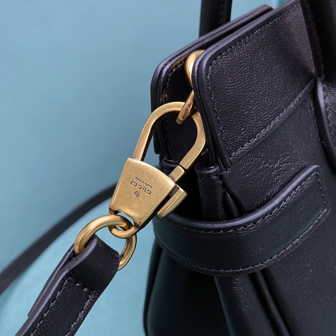 【P1350】古奇新款女包 Gucci进口牛皮手提斜挎两用包包25CM 黑色
