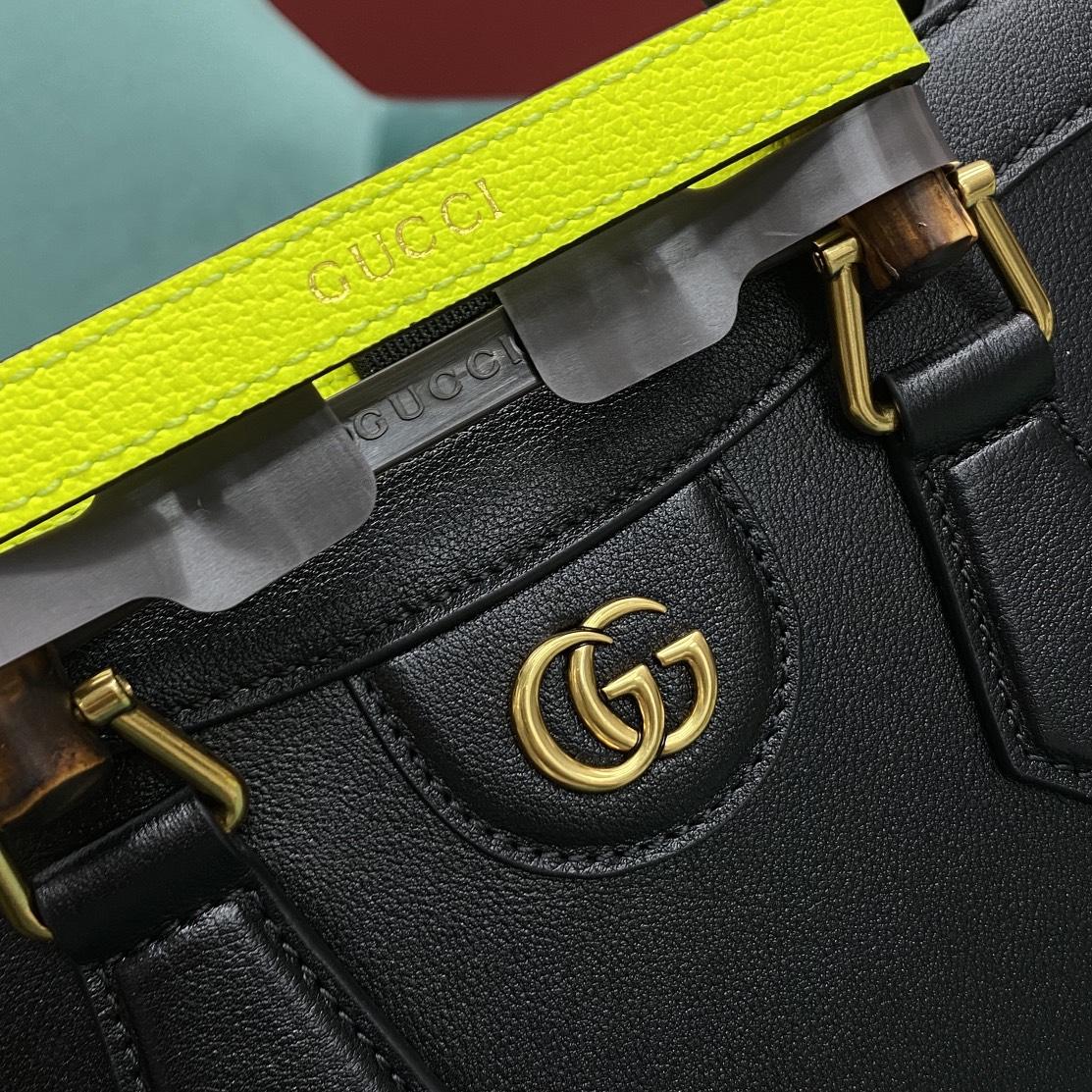 【P1430】Gucci Diana 古奇660195荧光色绑带竹节包手提包大号27CM 黑色