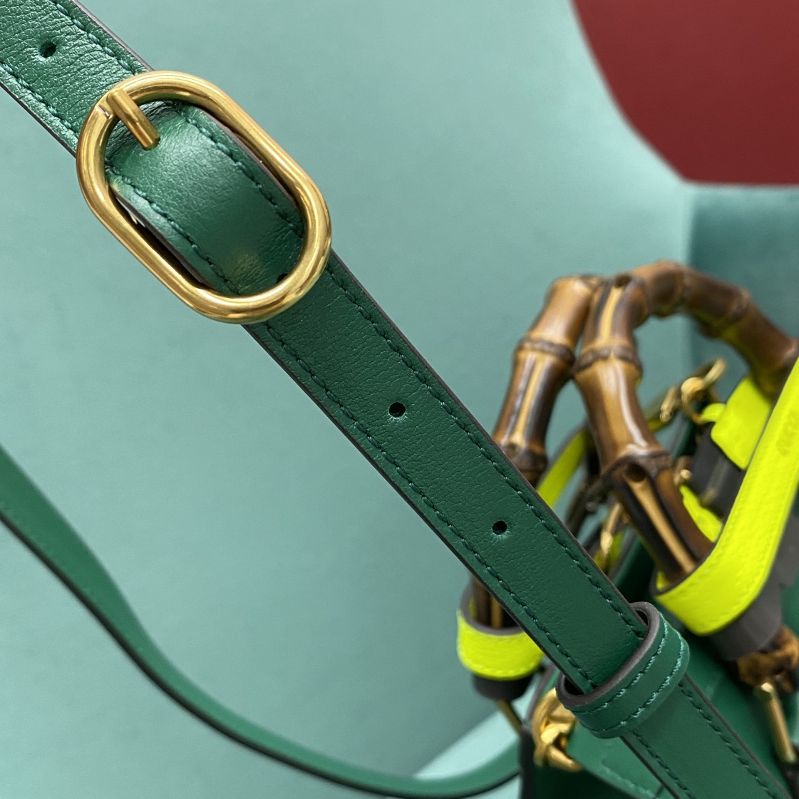 【P1280】Gucci Diana 古驰新款绿色进口牛皮竹节包手提女包小号20CM
