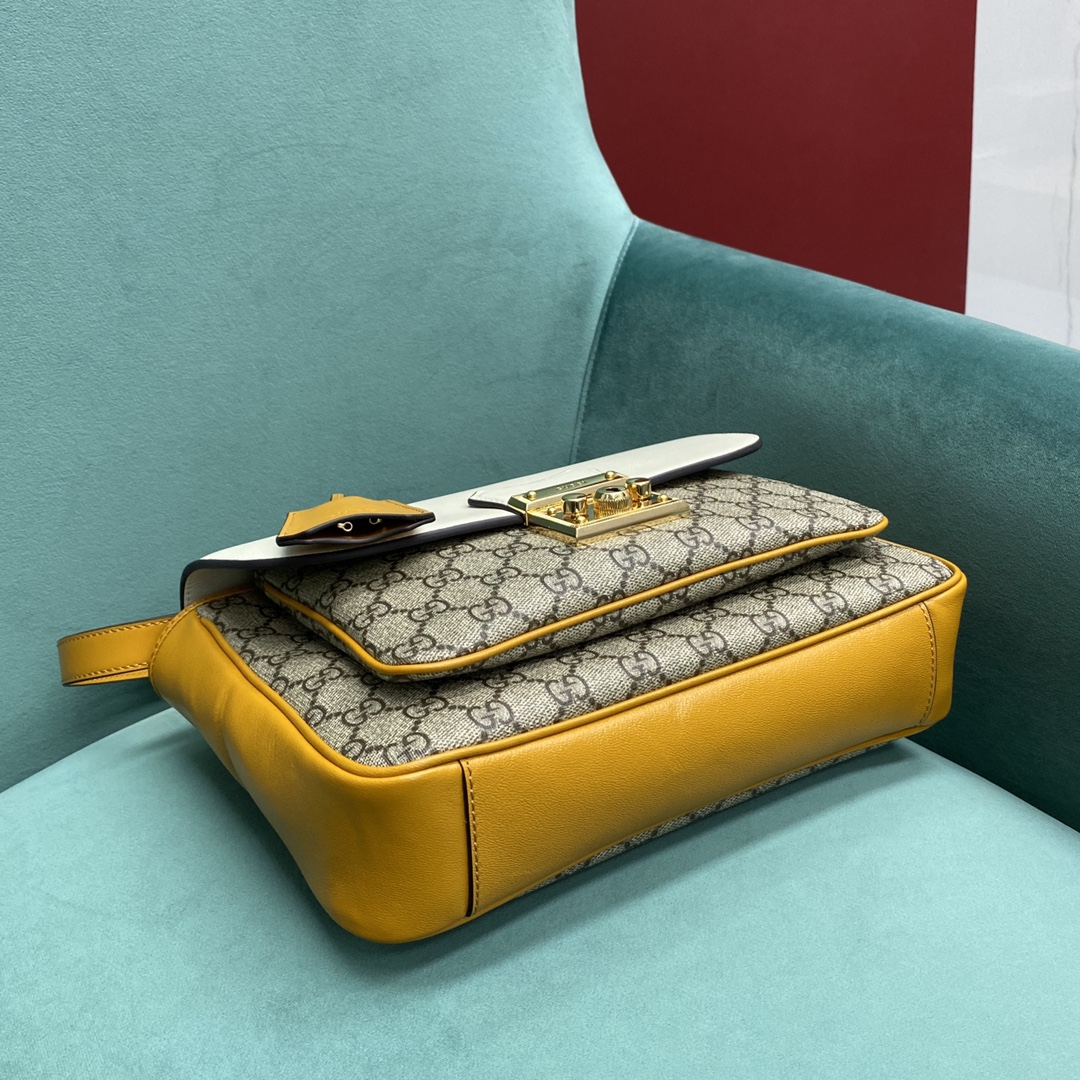 【P1350】Gucci包包价格 古奇644527白色大号padlock邮差包手提包27CM