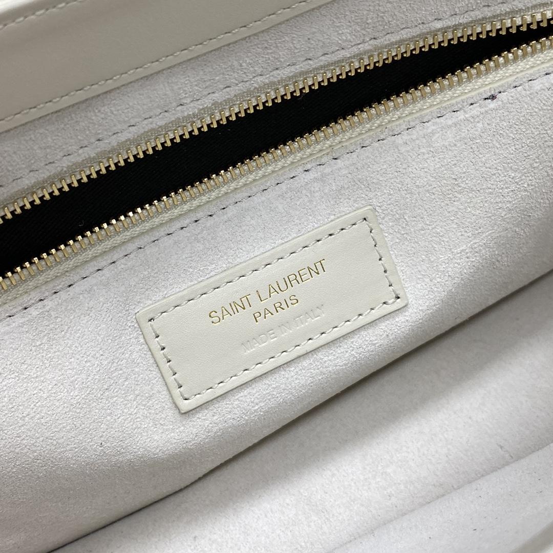 【P1130】圣罗兰新款女包 YSL白色原厂皮简约中古款腋下包单肩包24.5CM