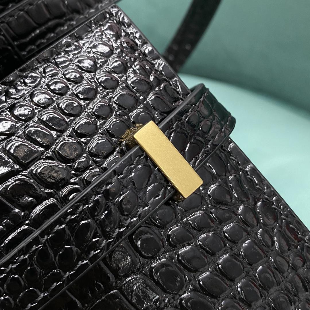 【P1280】圣罗兰包包价格 YSL Manhattan小号曼哈顿包黑色鳄鱼纹 金扣
