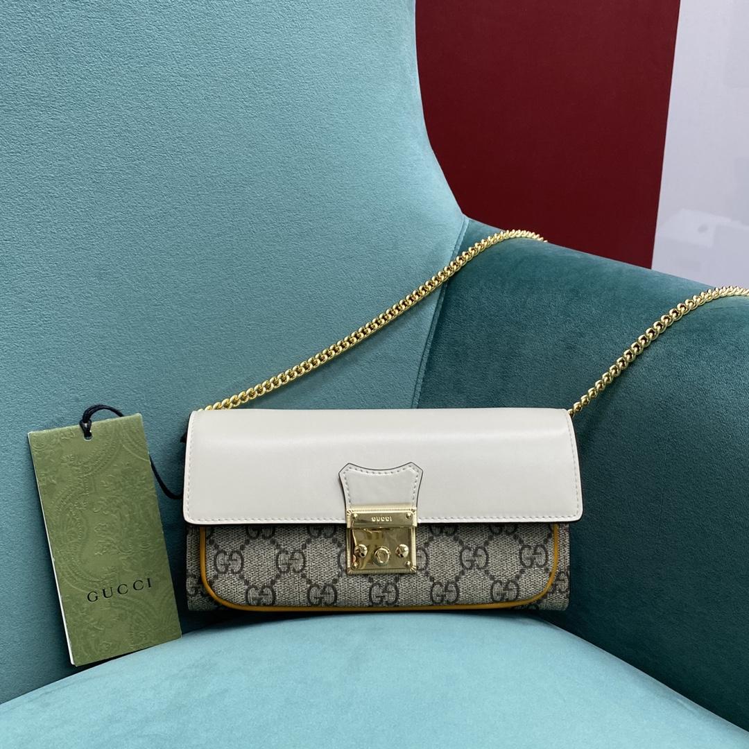 【P1020】Gucci女包批发 古驰新款658226白色拼色Padlock链条包斜挎包