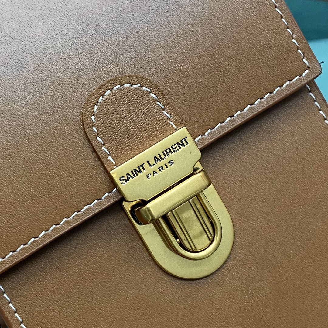 【P830】YSL包包批发 圣罗兰667718棕色原厂皮复古手机包单肩斜挎包