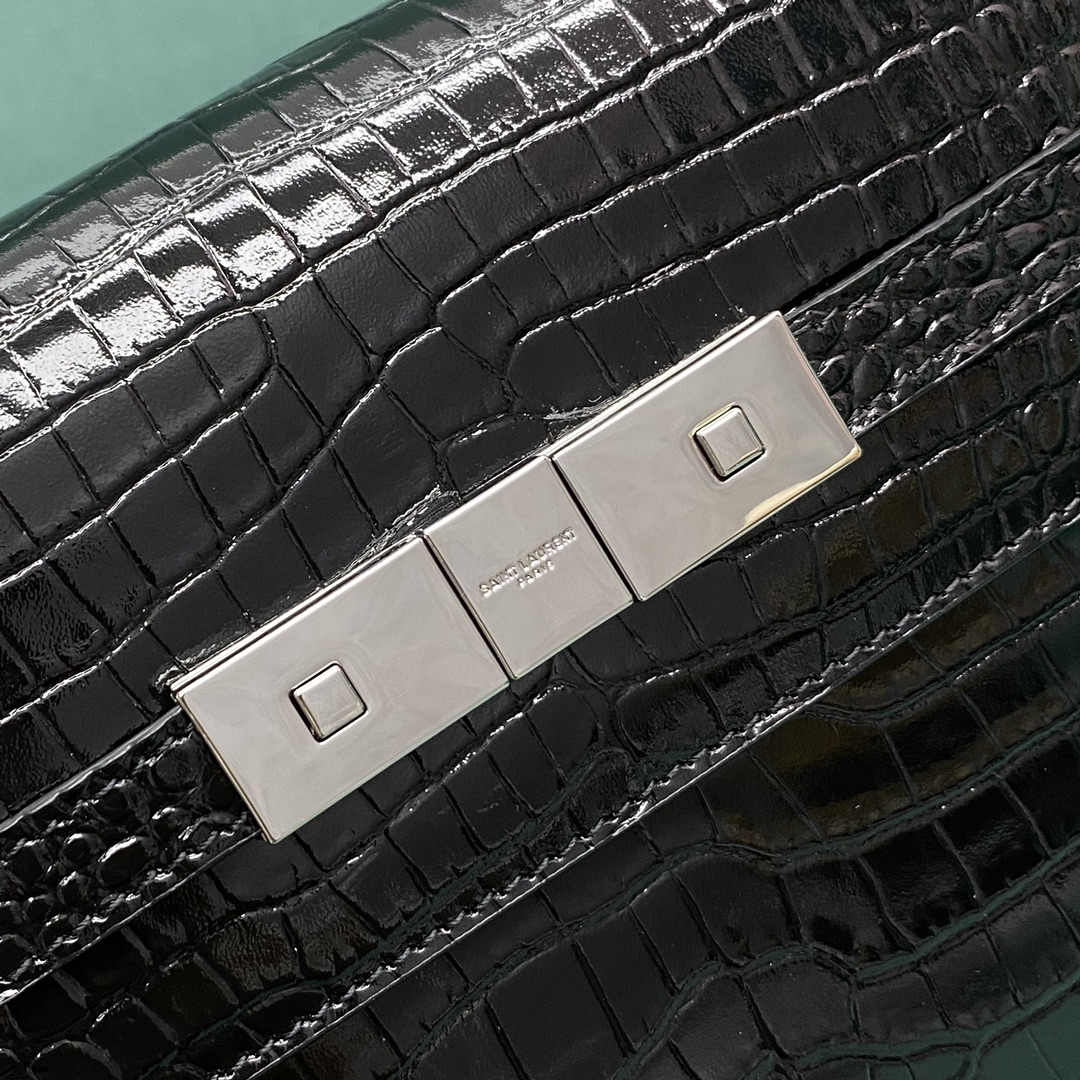 【P1280】YSL包包官网 圣罗兰675626黑色鳄鱼纹单肩包小号曼哈顿包 银扣