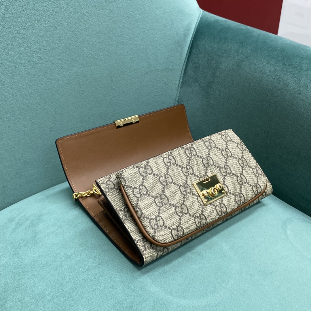 【P1020】古奇包包价格 Gucci Padlock黑色牛皮拼老花链条斜挎包手包19CM