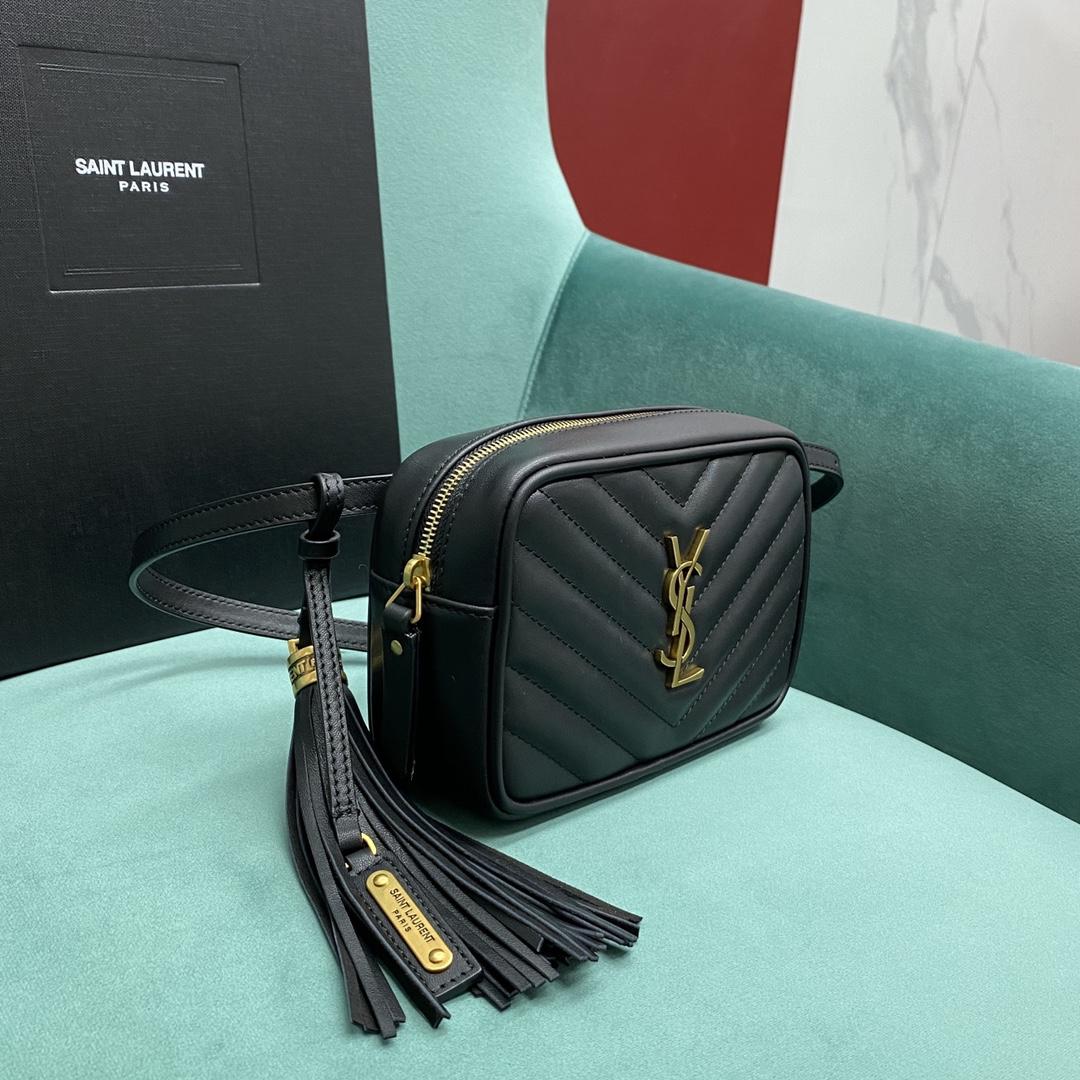 【P900】YSL LOU系列 圣罗兰534817黑色流苏V纹迷你相机包斜挎胸包
