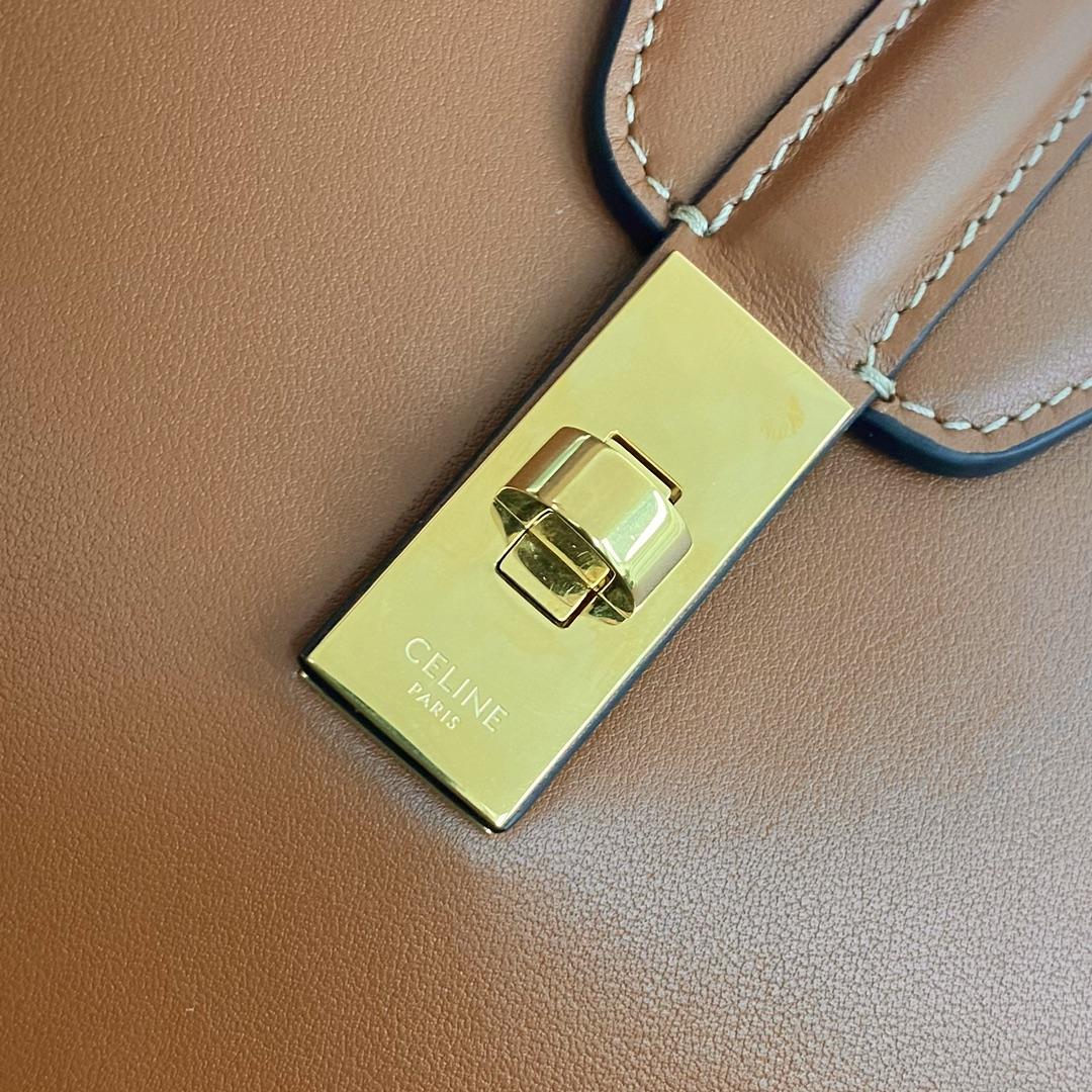 【P2100】Celine Soft16 思琳秋冬新款平纹牛皮单肩女包购物包小号 黄褐棕
