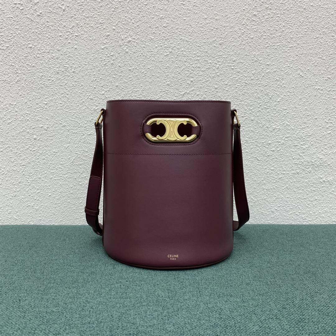 【P1950】Celine包包批发 思琳193043浆果紫Maillon小牛皮斜挎水桶包