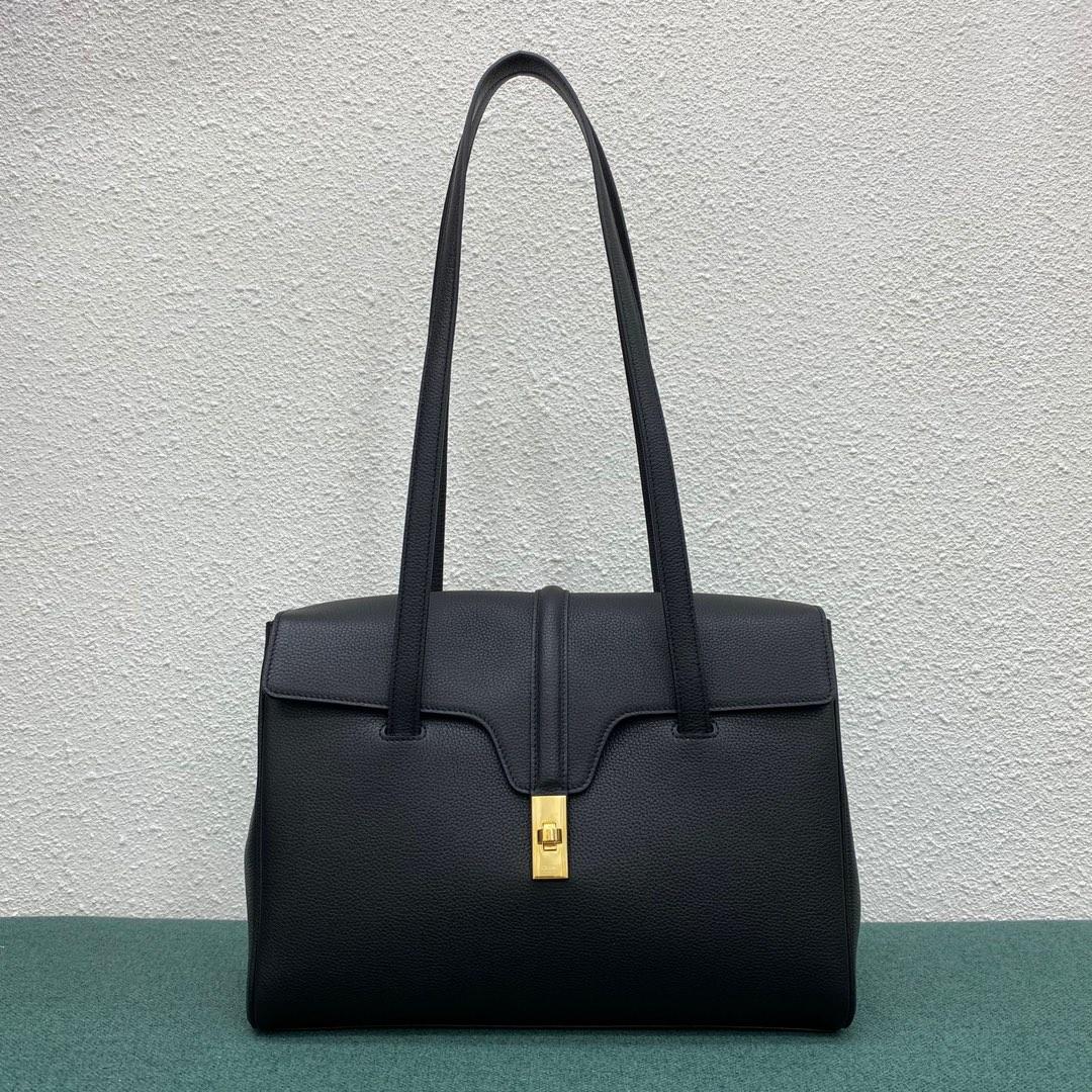 【P2100】Celine女包批发 思琳195543荔枝纹牛皮黑色Soft16小号单肩包