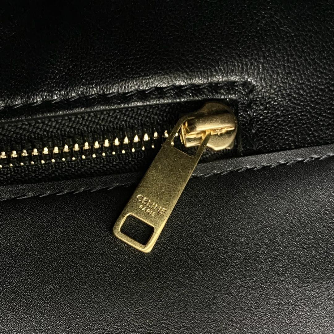 【P1950】思琳包包价格 Celine Maillon秋冬小牛皮水桶包单肩斜挎包 黑色