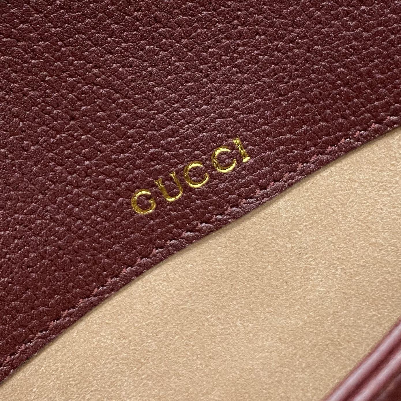 【P1430】Gucci秋冬新款女包 古驰1955新色酒红gg帆布马鞍包单肩斜挎包