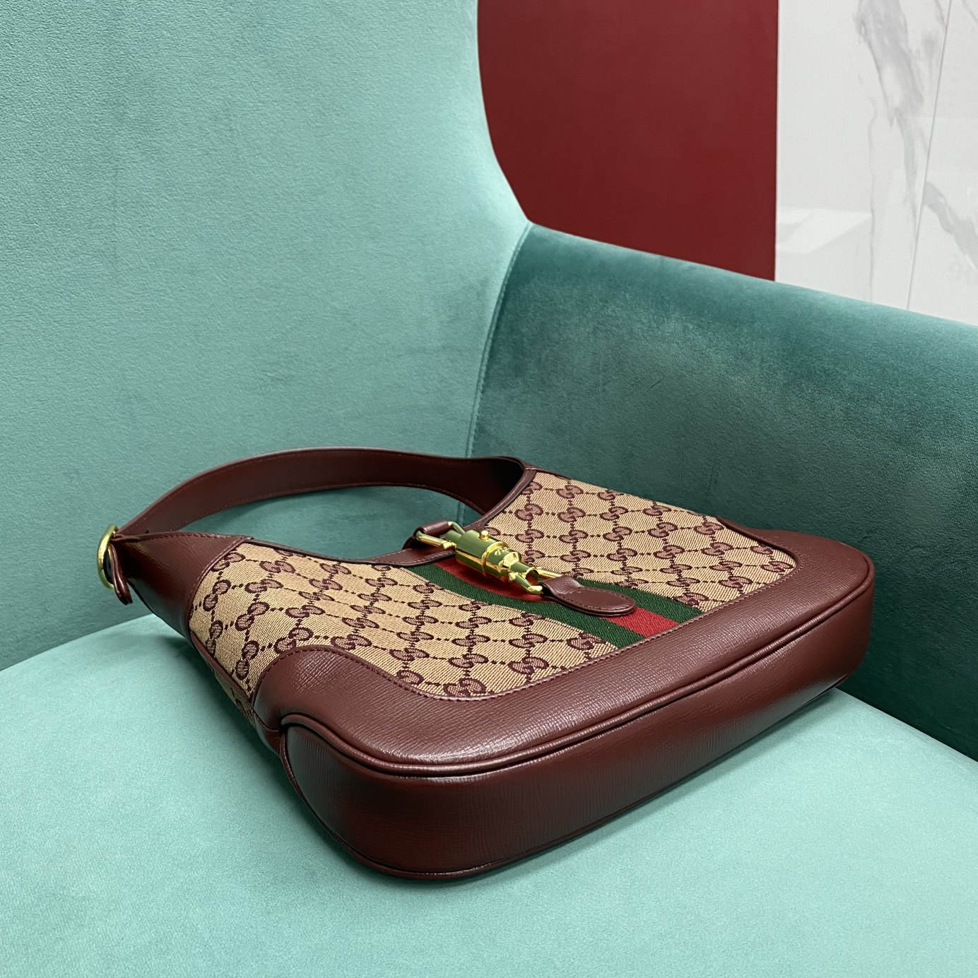 【P1250】Gucci jackie 1961系列 古奇636706酒红帆布单肩斜挎女包28CM