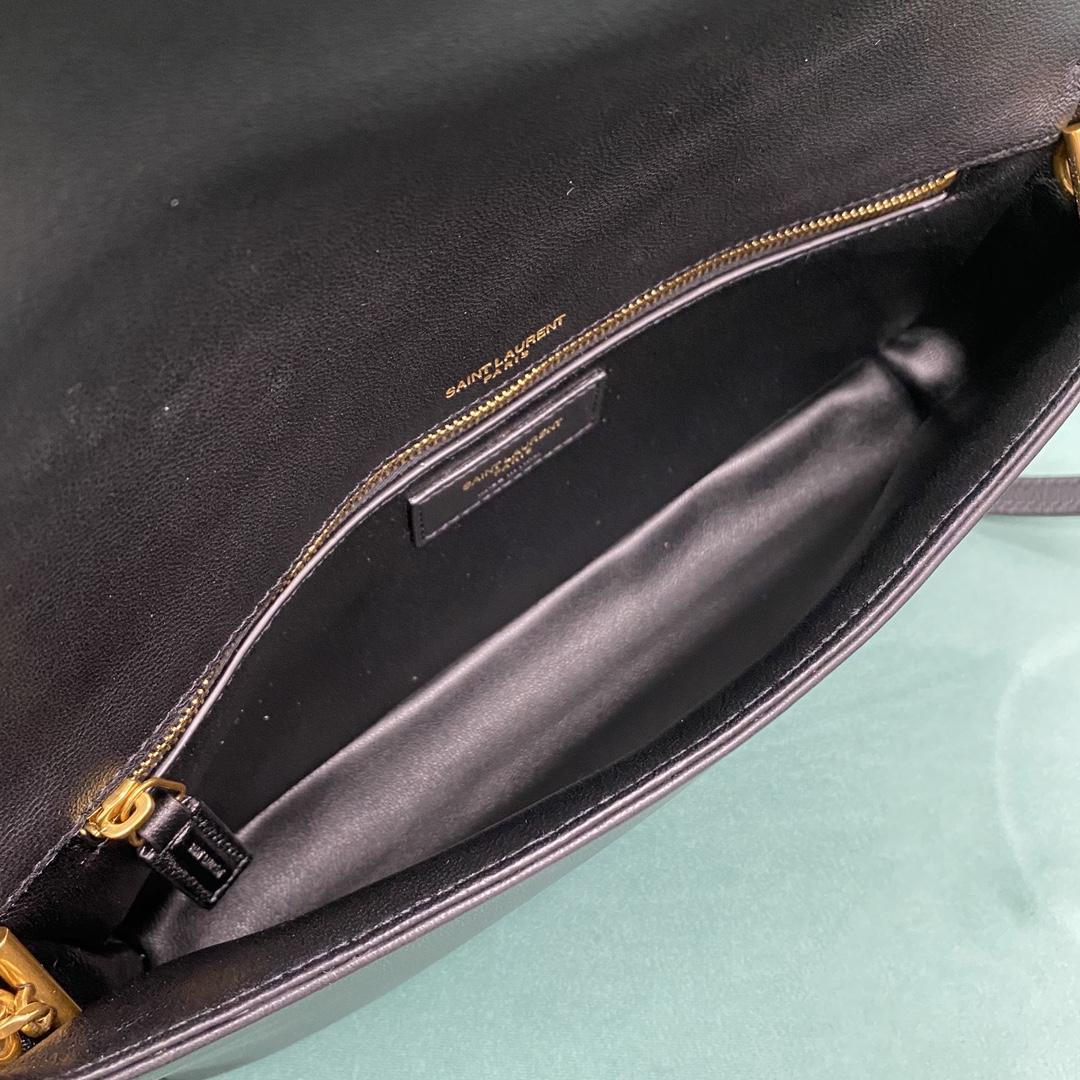 【P1020】圣罗兰新款女包 YSL菱格纹小羊皮翻盖斜挎包手包 676628黑色