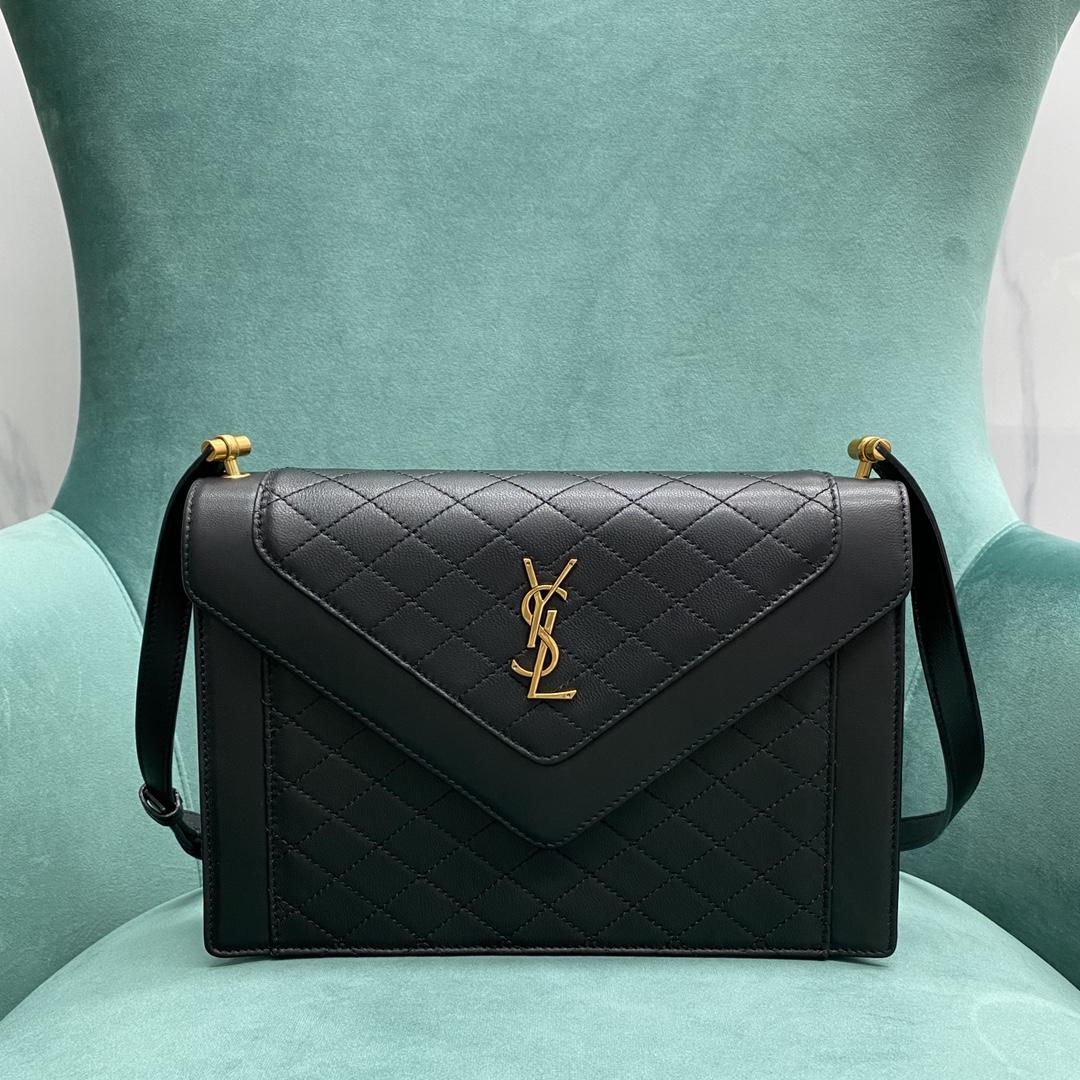 【P1500】YSL女包批发 圣罗兰新款GABY羊皮绗缝菱格信封包单肩包 黑色