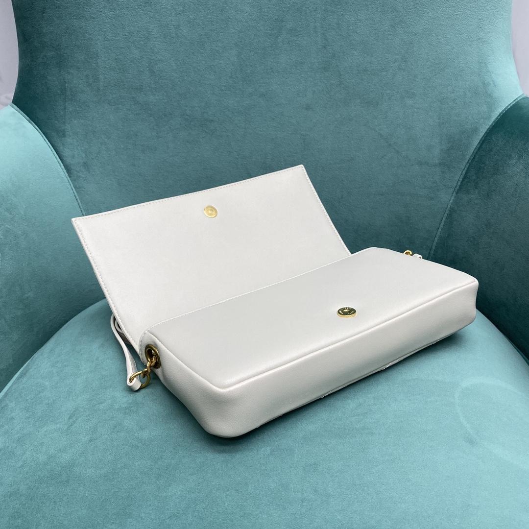 【P1020】YSL包包官网 圣罗兰21年新款676628白色羊皮菱格包手包斜挎包