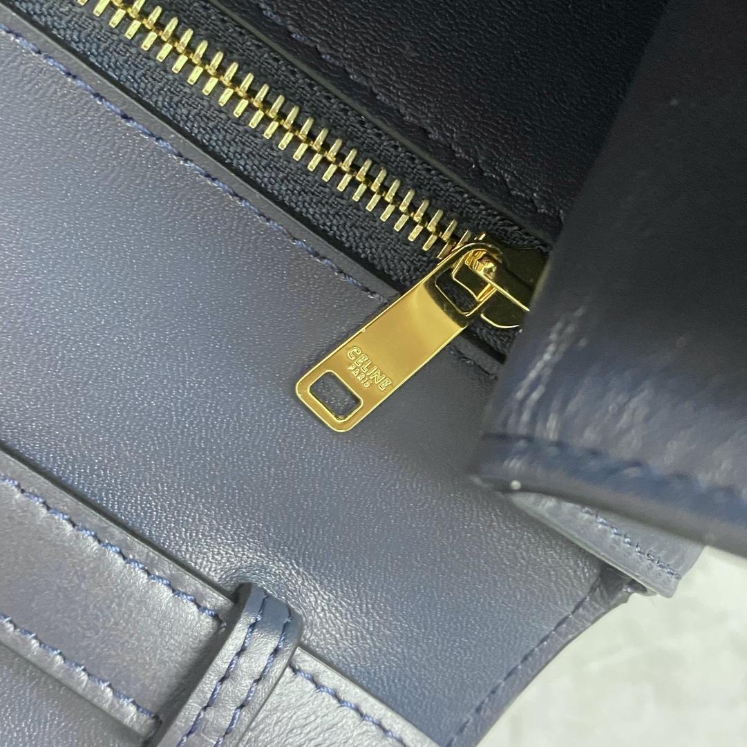 【P1580】Celine女包价格 思琳196583蓝色牛皮拼羊皮衬里锁头斜挎翻盖包