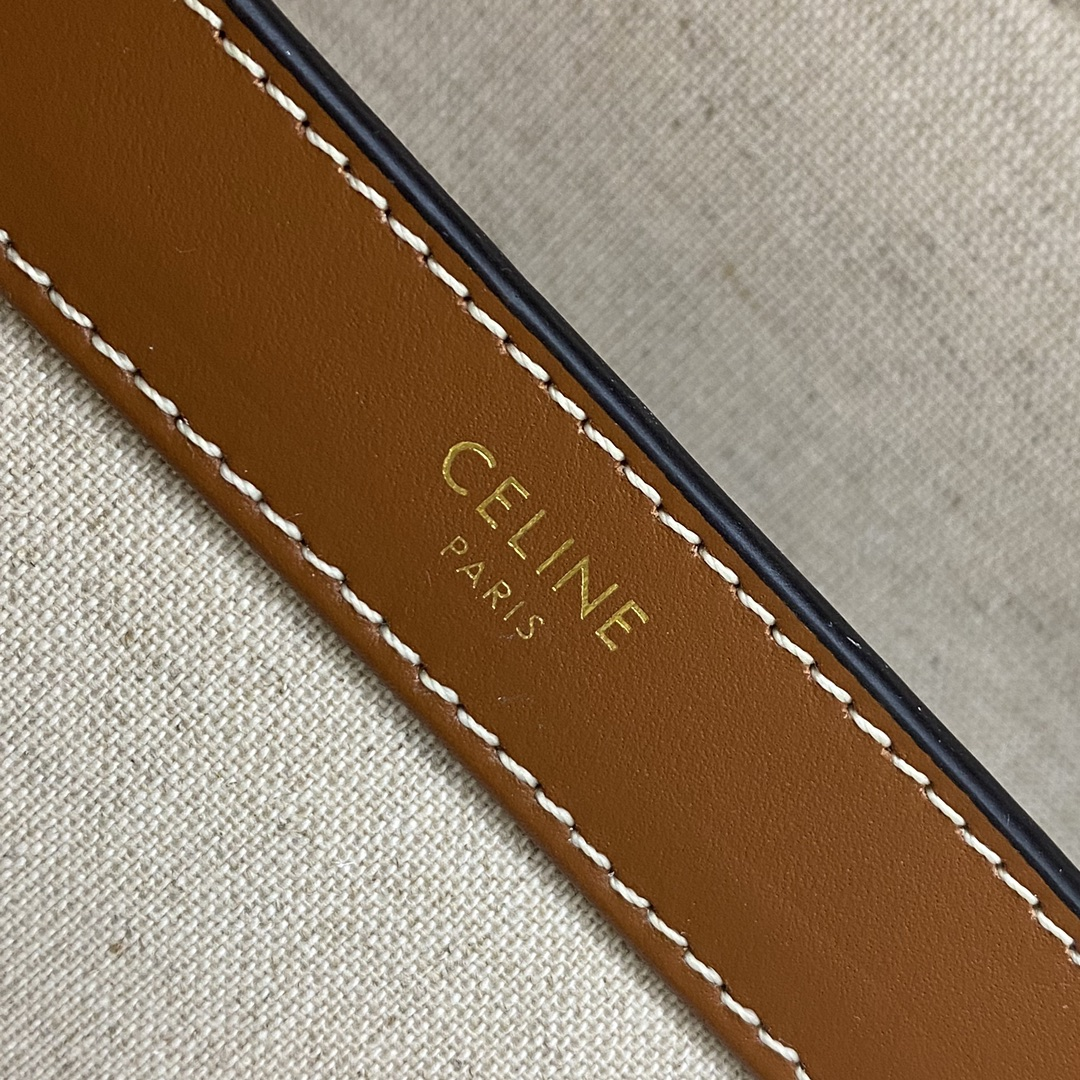 【P1800】Celine SOFT 16小号 思琳195543麻布拼棕色牛皮单肩女包32CM