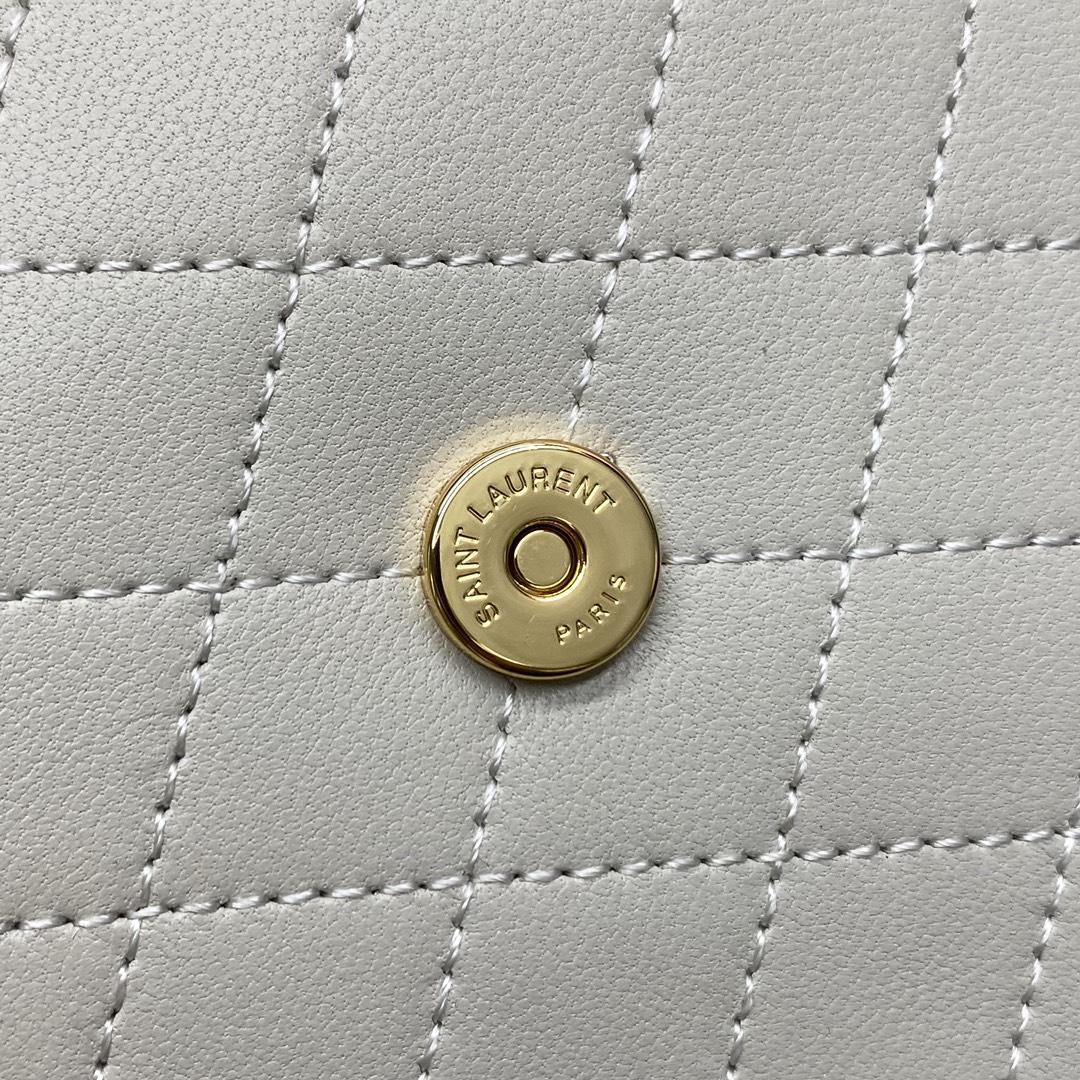 【P1500】圣罗兰包包价格 YSL新款白色GABY羊皮信封包绗缝菱格包斜挎包