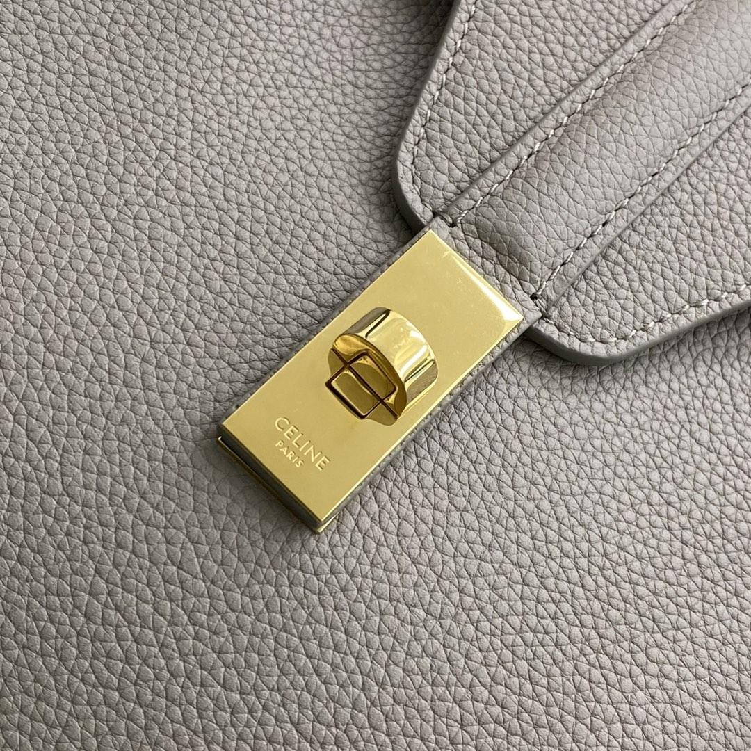 【P2100】思琳包包价格 Celine Soft16小号单肩包 195543荔枝纹灰色